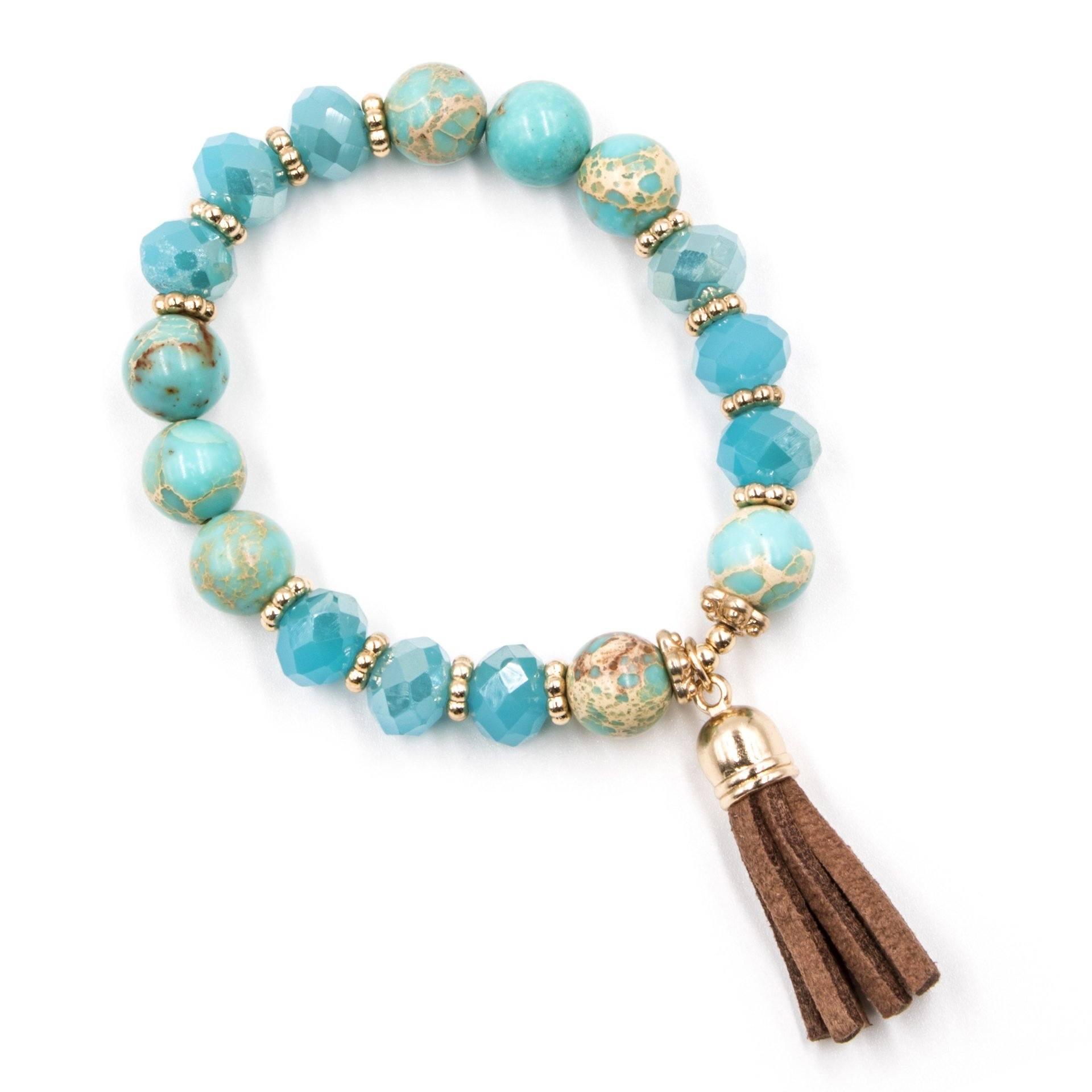 Multi-Beaded Turquoise Bracelet with Suede Tassel - Arlo and Arrows