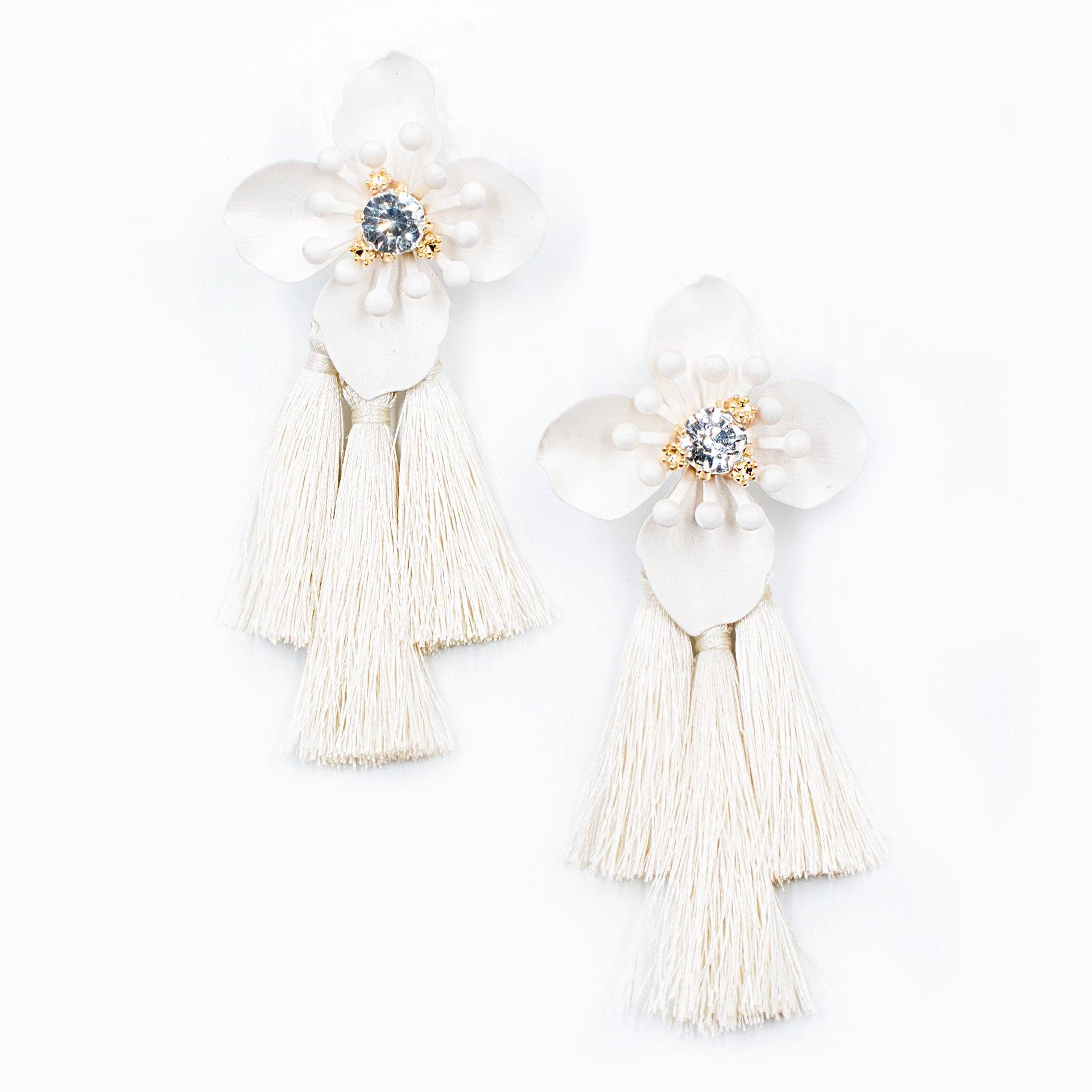 Ivory Floral Tassel Drop Statement Earrings - Arlo and Arrows