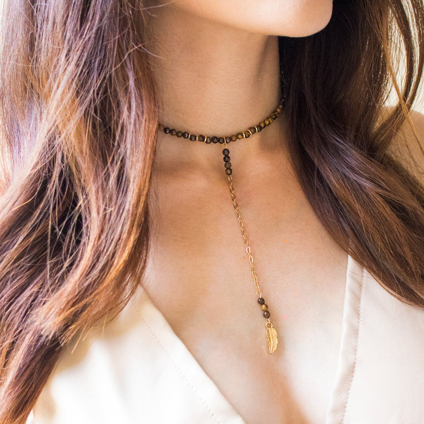 Feather Choker in Tiger's Eye and Gold - Arlo and Arrows