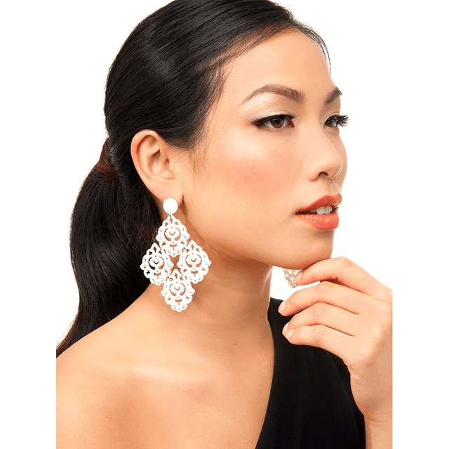 White Resin Deco Statement Earring