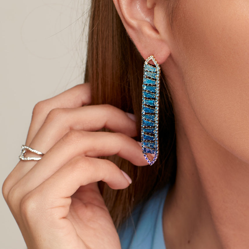 Stacked Gradient Crystal Drop Earring Jewelry