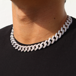 15mm Diamond Cuban Link Chain in White Gold