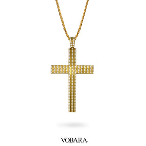 Yellow Gold Cross Pendant with Lab Diamonds