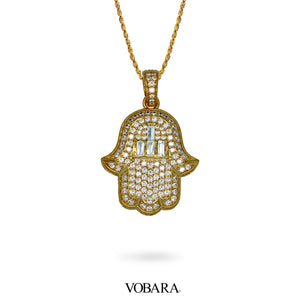 Hamsa Pendant in Yellow Gold with Baguette Lab Diamonds