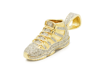 10K Yellow Gold Sneaker Pendant with Diamonds (2 in)