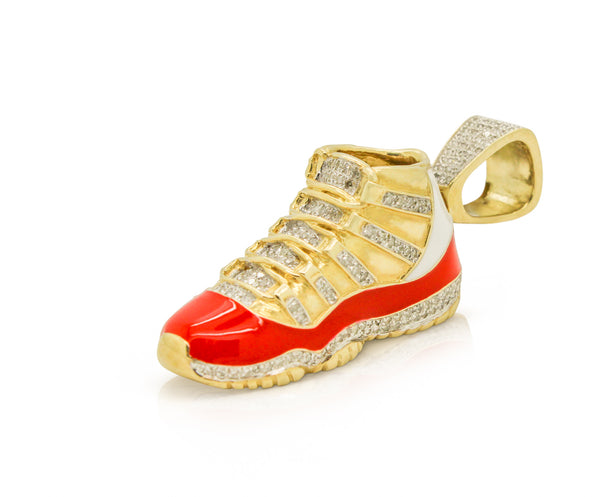 10K Yellow Gold Sneaker Pendant with Red Enamel and Diamonds (2 in)
