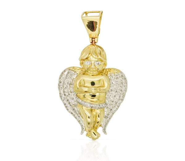 10K Yellow Gold Angel Pendant with Diamonds (1.75 in)