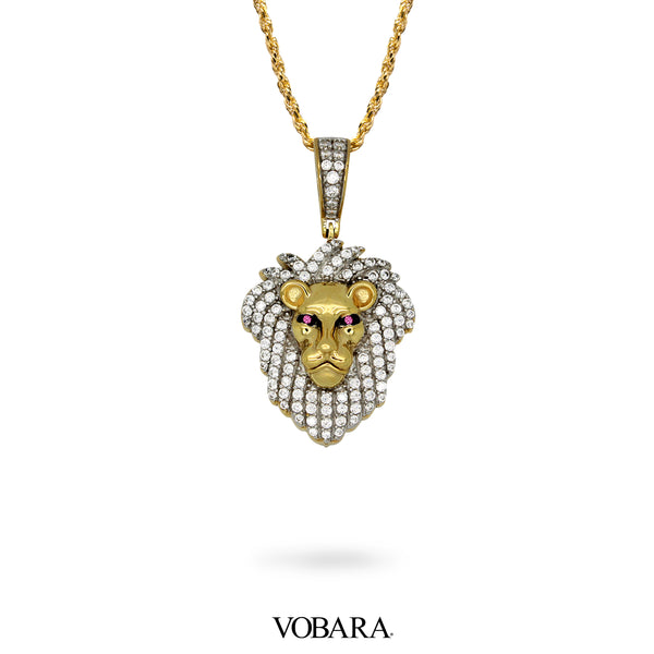 Lion Face Pendant in Yellow Gold With Lab Diamonds