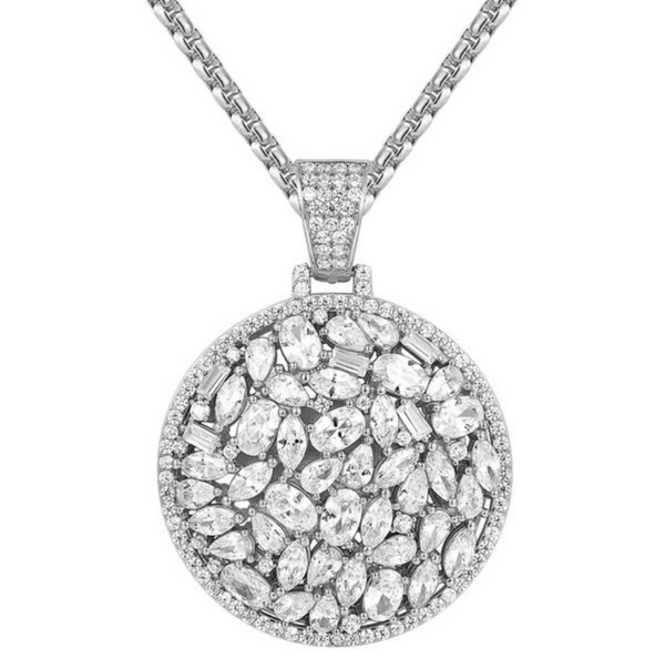 .925 Sterling Silver Vobara Baguette Medallion Pendant with Certified Lab Diamonds