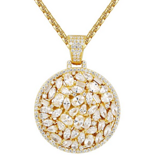 .925 Sterling Silver Vobara Baguette Medallion Pendant with Certified Lab Diamonds (14k Yellow Gold)