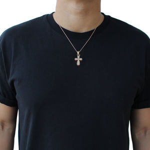 Baguette Flooded Cross in White Gold 2.5 inch