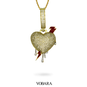 Lightning Heart Pendant in Yellow Gold with Lab Diamonds