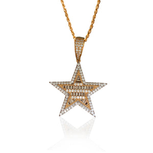 Rose Gold Star Baguette Lab Diamonds Pendant
