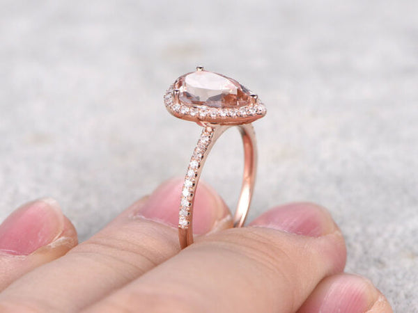 Morganite Droplet Ring