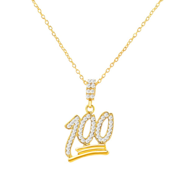 Rhinestone 100 Pendant Necklace