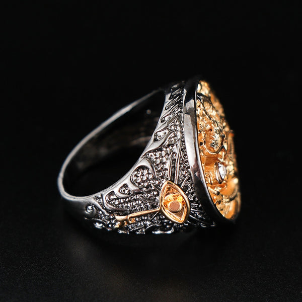 Dragon Carved Gold Ring