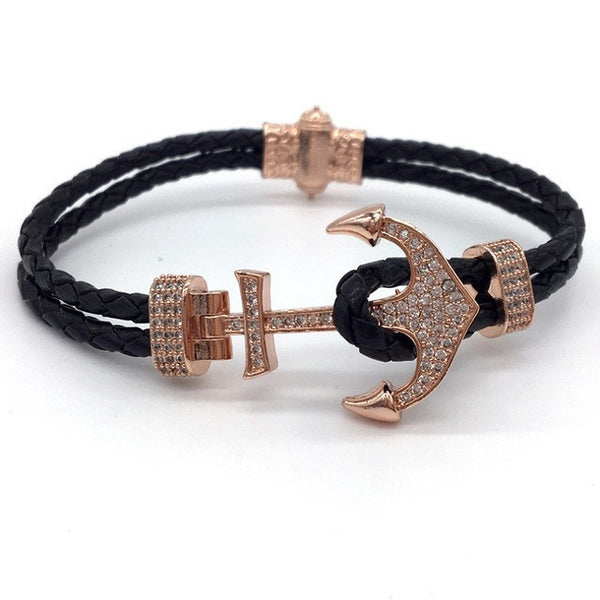 Cubic Zirconia Paved Anchor Bracelet