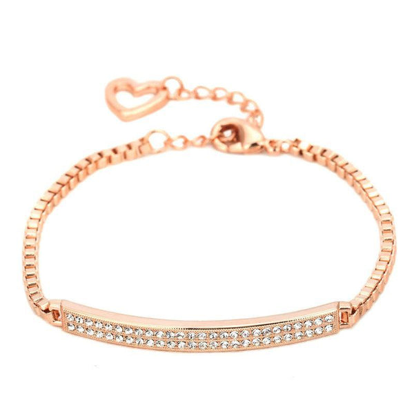 Top Quality CZ Micro Pave Chain Rose Gold Color Bracelet Jewelry Made with Austrian Crystal Wholesale ZYH172