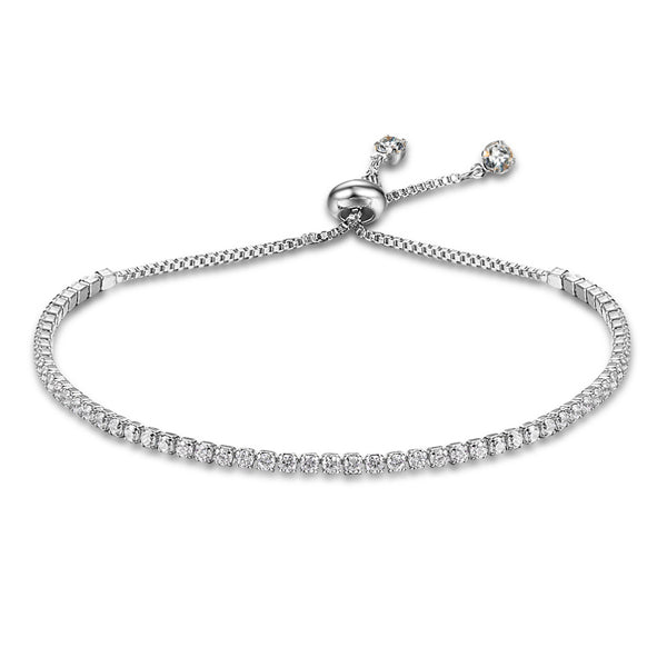 Thin Cubic Zirconia Paved Bracelet