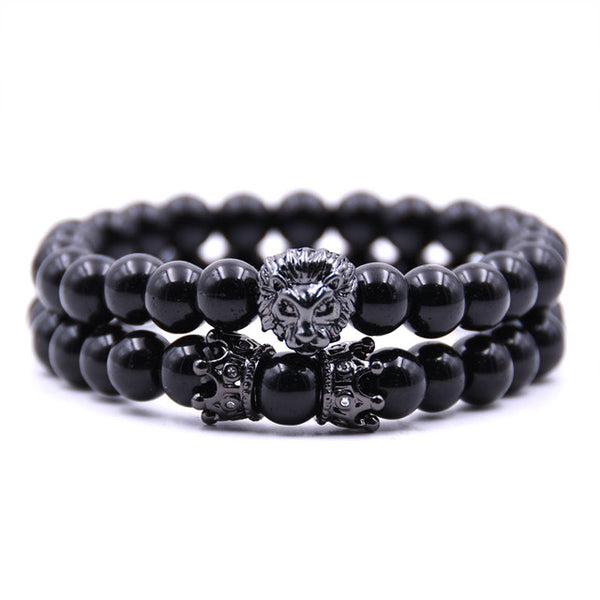 Onyx Lion Crown Bracelet