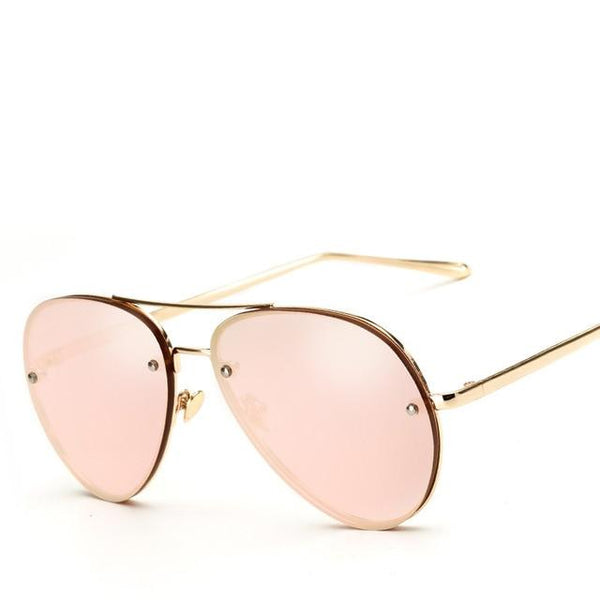 Oversized Flat Lens Aviator Sunglasses