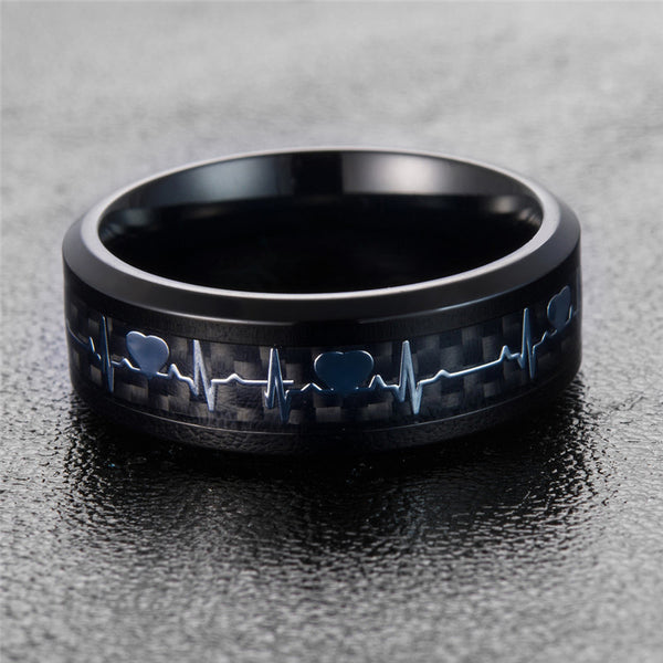 Carbon Fiber Heartbeat Ring