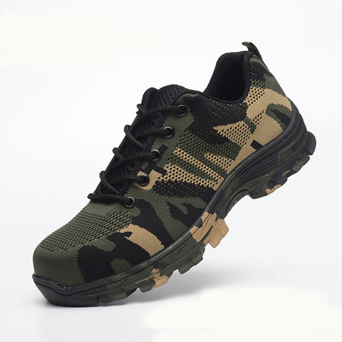 Camouflage Mesh Steel Toe Casual Shoes