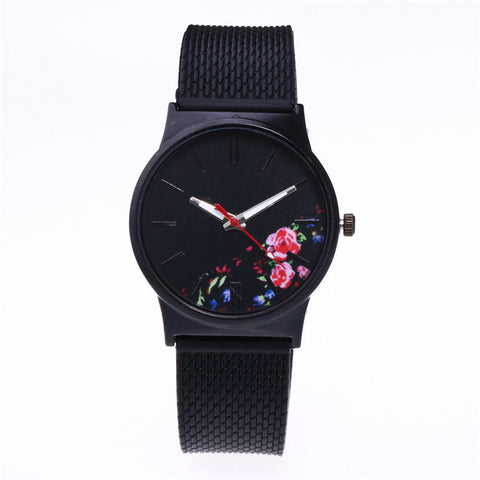 Black Flower Ladies Watch