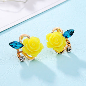 Rose crystal Stud earrings