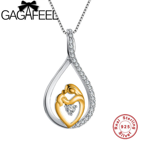 925 Sterling Water Drop Mom & Child