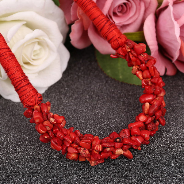 Red Natural Stone Coral Design Choker Necklace