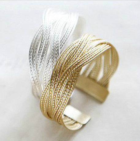 Gold/Silver Plated Knitted Twisted Bangle