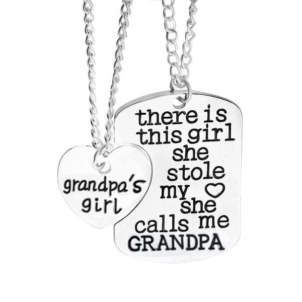 Grandpa  & Grandma Girl  Necklace