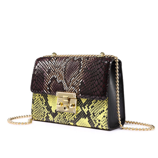 Genuine Leather Serpentine Handbag