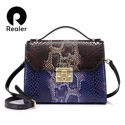 Serpentine print Leather Bag