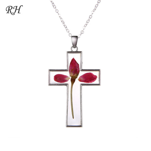 Unisex Rose Cross Necklace