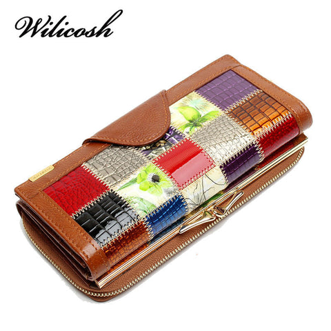 Genuine Leather Patchwork  Wallet