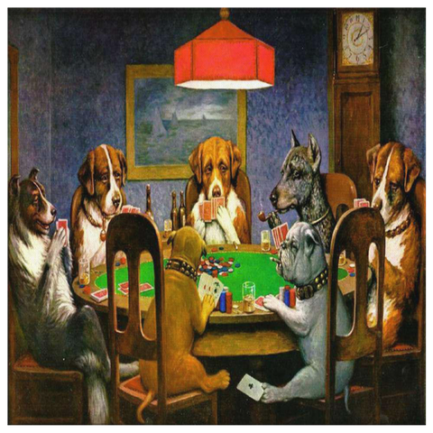 Dogs Playing Poker Square Wall Canvas