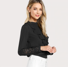 Flounce Neck Lace Ruffle Top