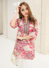 Chiffon Printed Embroidery Floral Top
