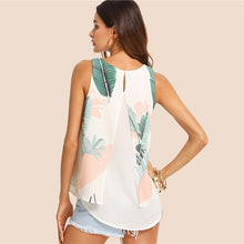 Tropical Print Round Neck Boho Summer Top