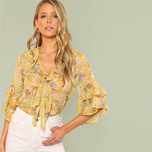 Bohemian Neck Layered Flounce Sleeve Casual Top