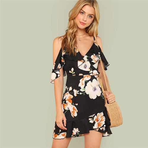 Backless Tropical Spaghetti Strap Sleeveless Slim Dress