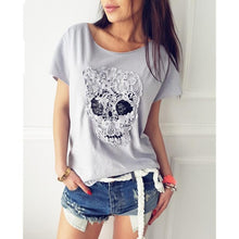 Skull Head Embroidery Top Lace Casual T-shirt