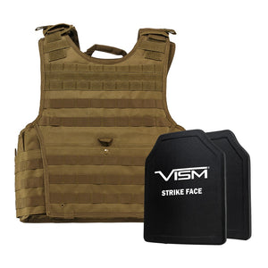 "LEVEL III+ VISM by NcSTAR BPCVPCVXL2963T-A EXPERT PLATE CARRIER VEST (2XL+) WITH 10""X12' LEVEL III+ PE SHOOTERS CUT 2X HARD BALLISTIC PLATES/ EXTRA LARGE/TAN"