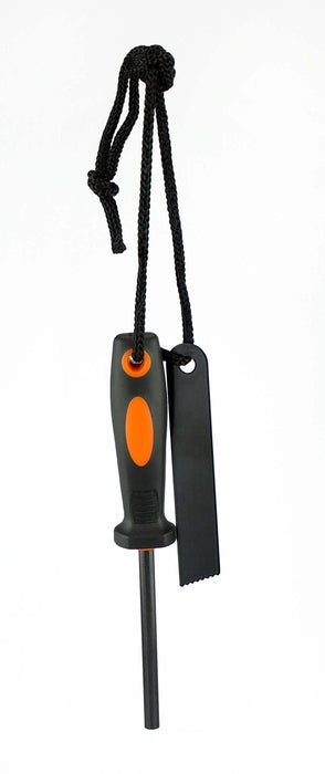 SE FS372 Flint and Striker with Rubber Grip Handle, Black/Orange