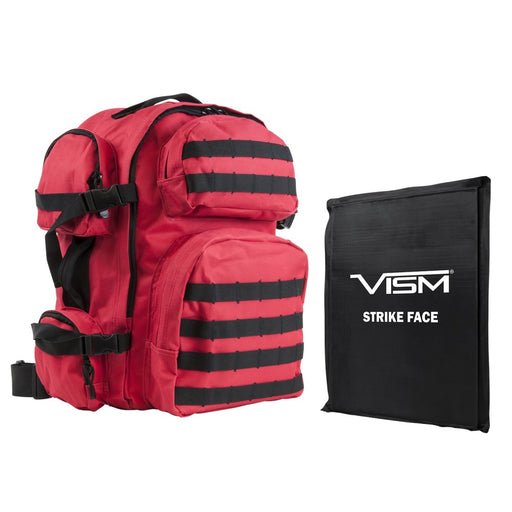 "Level IIIA VISM by NcSTAR BSCBR2911-A LEVEL IIIa TACTICAL BACKPACK WITH 10""x12"" LEVEL IIIA SOFT BALLISTIC PANEL/ RED WITH BLACK TRIM"