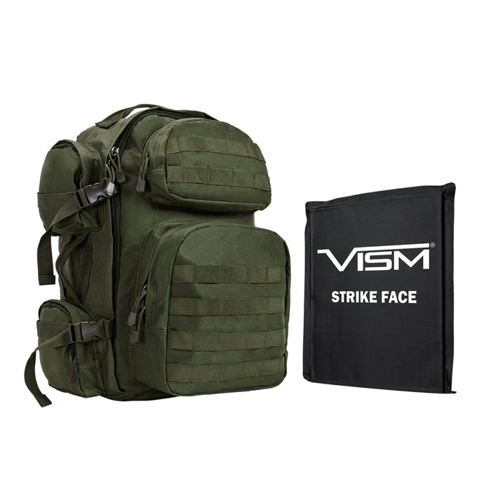 "LEVEL IIIA VISM by NcSTAR BSCBG2911-A TACTICAL BACKPACK WITH 10""x12"" LEVEL IIIA SOFT BALLISTIC PANEL/ GREEN"