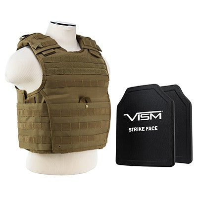 "LEVEL III+ VISM by NcSTAR BPCVPCVX2963T-A EXPERT PLATE CARRIER VEST (MED-2XL) WITH 10""X12' LEVEL III+ PE SHOOTERS CUT 2X HARD BALLISTIC PLATES/ LARGE/ TAN"