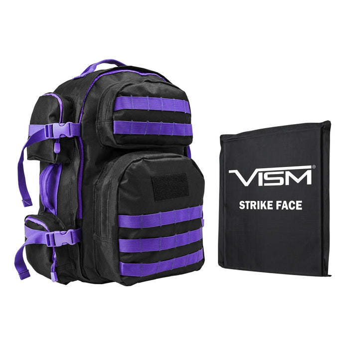 "LEVEL IIIA VISM by NcSTAR BSCBPR2911-A TACTICAL BACKPACK WITH 10""x12"" LEVEL IIIA SOFT BALLISTIC PANEL/ BLACK WITH PURPLE TRIM"